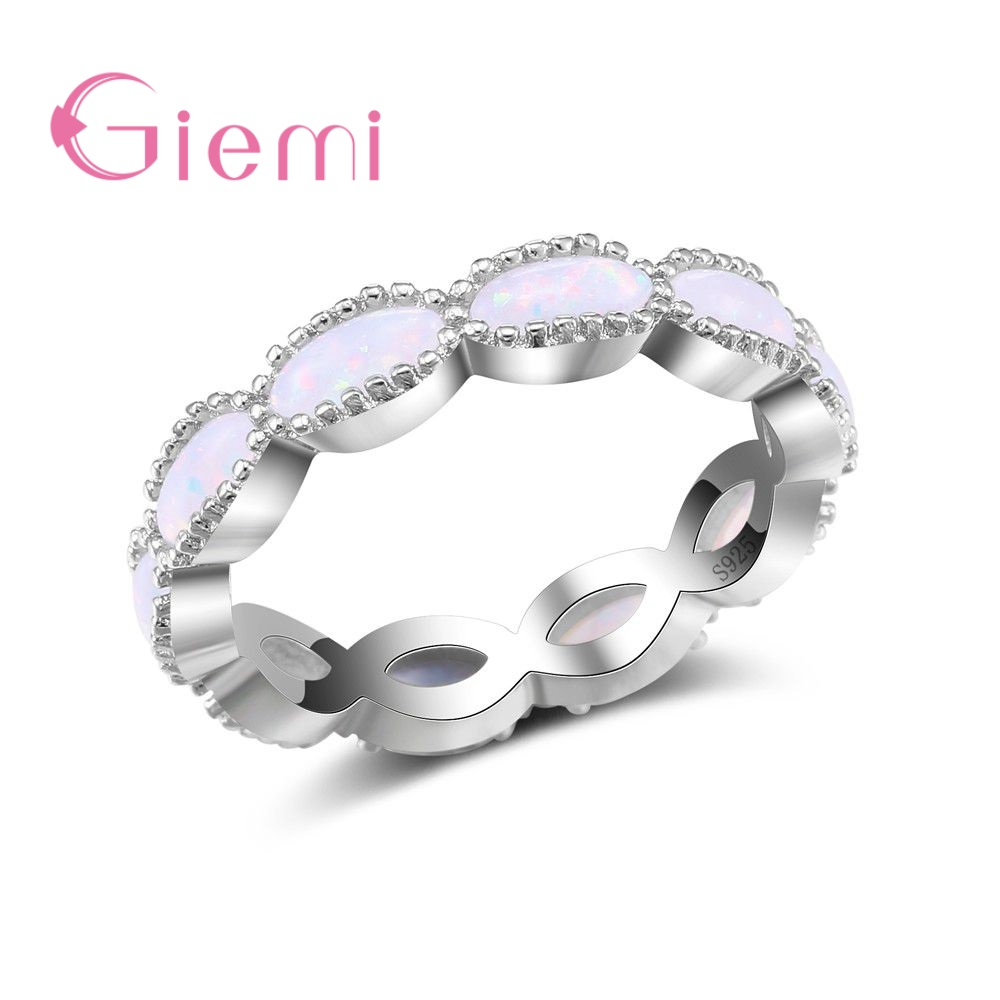GIEMI Simple Cross Infinity Finger Rings for Women Top Quality 925 Sterling Silver Jewelry New Fashion Opal Crystal Party Bijoux