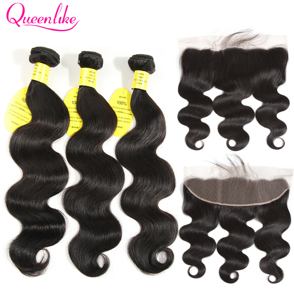 QueenLike Hair 13x4 Lace Frontal Closure With Bundles Non Remy Brazilian Hair Weave Body Wave Human