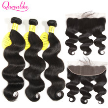 QueenLike Hair 13x4 Lace Frontal Closure With Bundles Non Remy Brazilian Hair Weave Body Wave Human Hair Bundles With Closure(China)