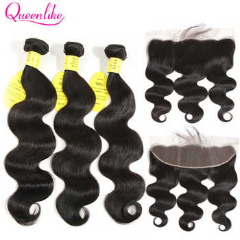 QueenLike Hair 13x4 Lace Frontal Closure With Bundles Non Remy Brazilian Hair Weave Body Wave Human Hair Bundles With Closure - DISCOUNT ITEM  70% OFF All Category