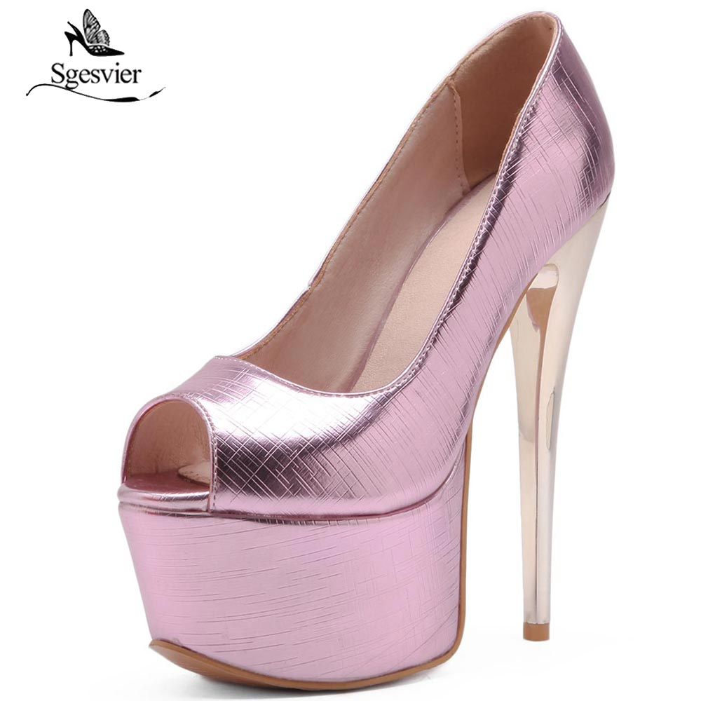 SGESVIER High Heels Pumps Shoes Women Thin High Heel Platdorm Party Wedding Shoes Peep Toe Sexy Fashion Pumps Size 33-48 OX337 taoffen women high heels shoes women thin heeled pumps round toe shoes women platform weeding party sexy footwear size 34 39