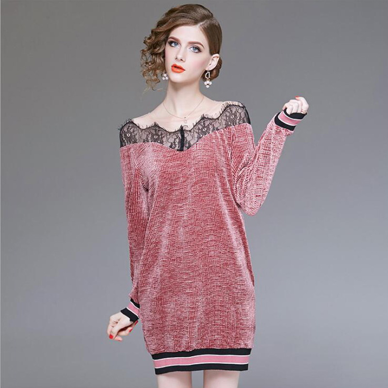 Dress Women Casual Lace Patchwork Straight Ladies Elegant 2019 New Fashion