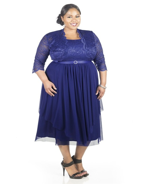 e8f85146d0dc Tea Length Mother Of The Bride Lace Dresses With Jacket Plus Size Royal  Blue Mother Formal