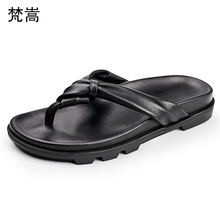 Mens Slippers Summer Outdoor Fashion Personality fender summer men genuine leather slippers confortable Flip Flops casual Shoes