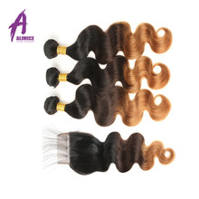 Alimice Hair Ombre Malaysia Body Wave Hair 2 3 4 Bundles With Closure T1B/4/30 Ombre Human Hair Bundles With Closure Non Remy(China)