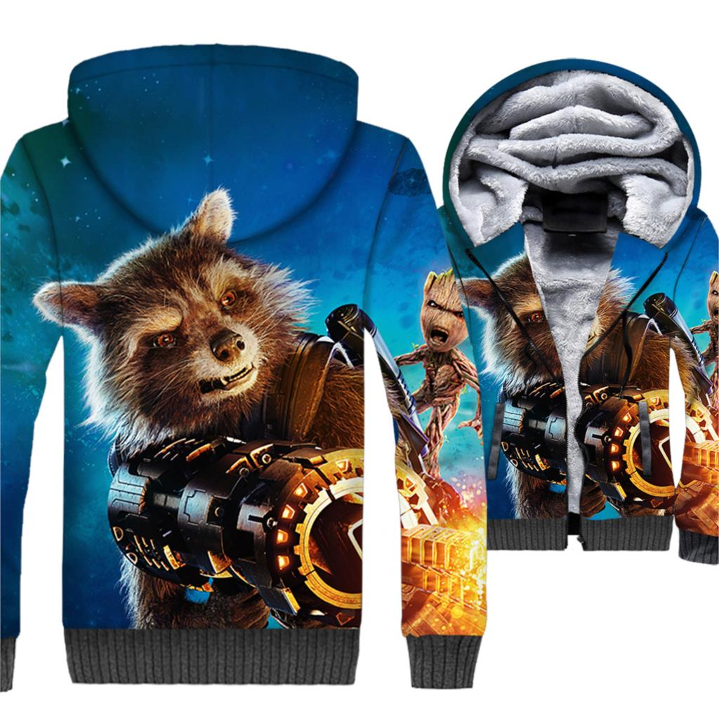New Fashion 2018 3D Anime Hoodies Guardians of the Galaxy Sweatshirts Hip Hop Unisex Zipper Hoody Raccoon Animal Thick Coat Tops in Hoodies amp Sweatshirts from Men 39 s Clothing