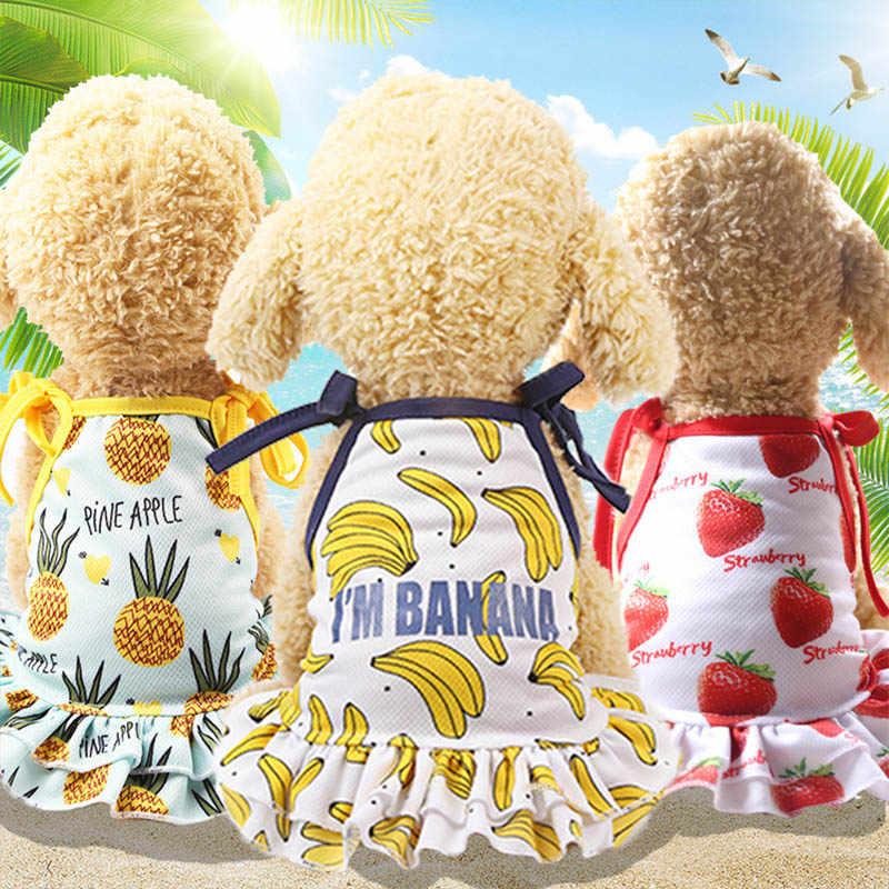 Одежда для влюбленных собак весенне-летнее платье для собак Французский костюм для бульдога с фруктовым принтом, платье для кошек, сетчатый жилет для животных, рубашка, костюм для щенка