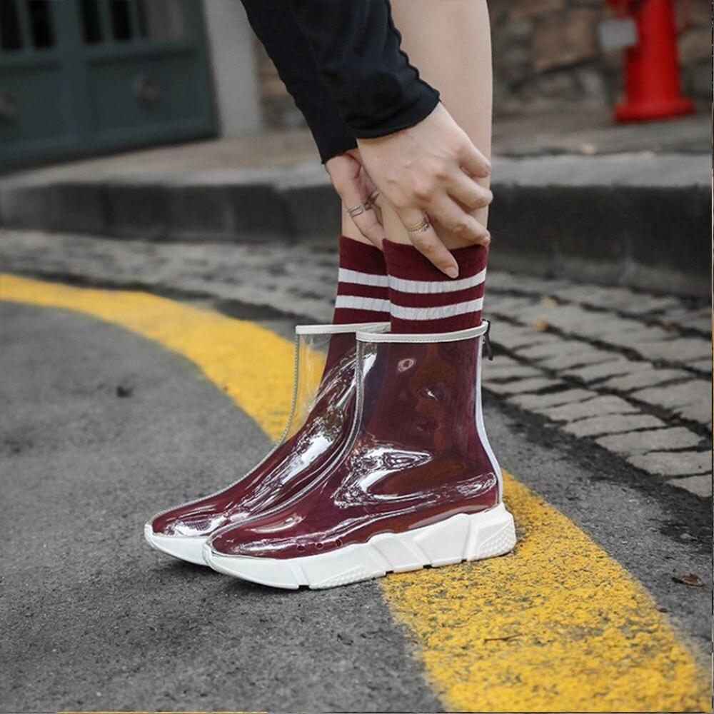 Éclair Taille Pvc Chaussures De 2019 Avec Confortables Et Fermeture Transparent Hommes Décontractées Nouveau Grande Femmes Mode Talon Une Sport Pédale wBSHAf