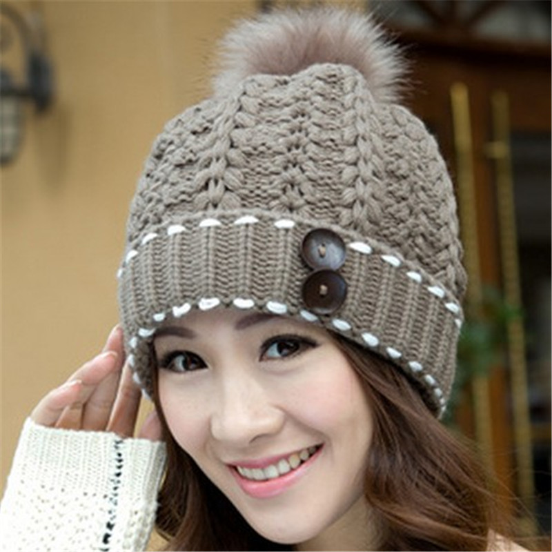 Warm Elegant Hats For Women Winter Autumn Beanies Caps Knit Fur
