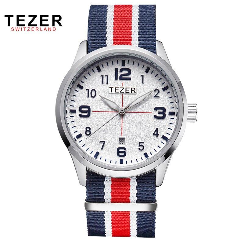 TEZER Watches font b Men b font Fashion Sports Watch Luxury Brand Nylon Strap Casual Watch