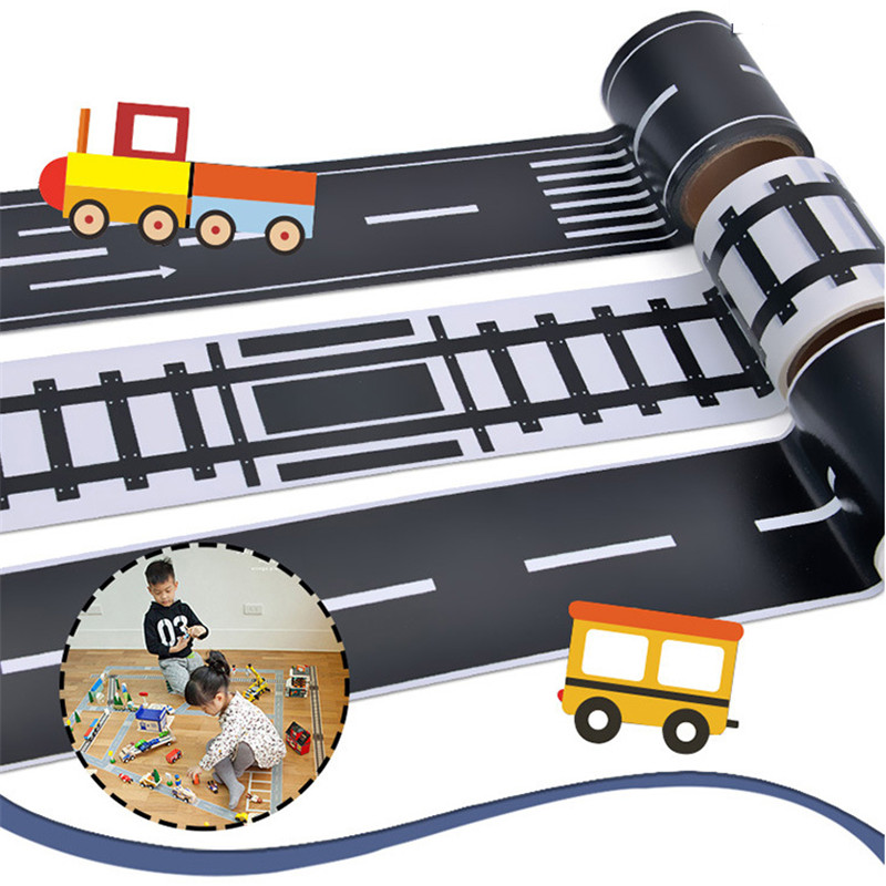 Railway Road Tape Sticker Washi Wide Traffic Road Adhesive Masking Tape Scotch Road For Kids Toy Car Play Gift