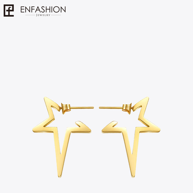 Enfashion Star Earrings Punk Stud Earring Rose Gold Color Earings Stainless Steel For Women Jewelry