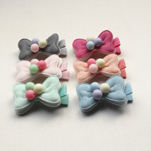 Double Layers Mini Ball Lovely Hair Bows Cotton Felt Clip Handmade Soft Kid Cute Barrettes Child Accessories 2pcs/lot