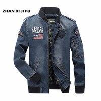 Denim bomber Vintage O neck Fashion mans Denim Jacket,Full Sleeve Autumn Cotton Motorcycle Outwear,Zipper Fly Sleeve jacket