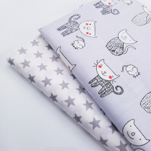 Childish Style Cotton Twill Fabric Cute Cat/Star Printing DIY Sewing Quilting 100% Ctton Material For Child & Kid