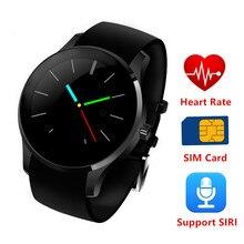Redonda de Metal Smartwatch K88S Ritmo Cardíaco reloj inteligente sim Monitor montre conector Samsong Teléfono Android y IOS pK dz09 u8