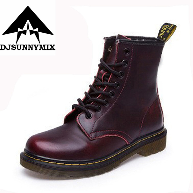 DJSUNNYMIX Brand 2017 New England Style Women Martin Boots autumn winter genuine leather unisex Ankle boots plus Size 35-46