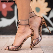 TINGHON Women Sexy Red Leopard Open toe Shoes Shallow Cut Lace-up Covered Heel Stiletto Heels PVC Dress Shoes Sandals Size 35-40 цены