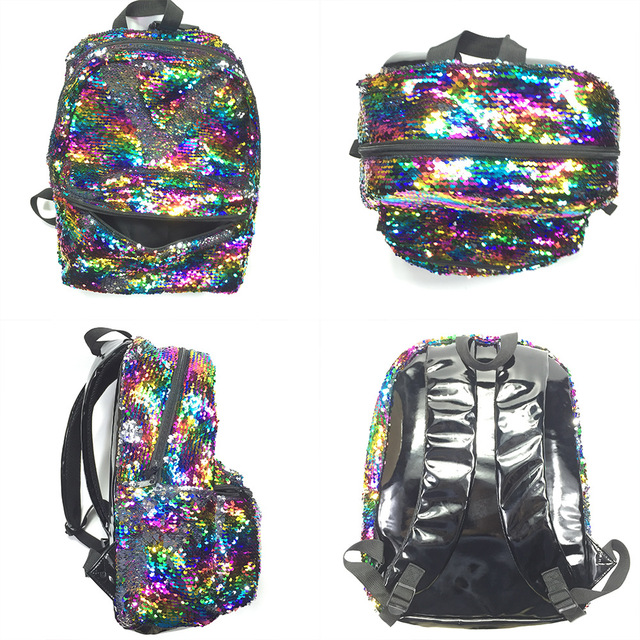 2018 Oloey Magic Unicorn Sequin Backpack Pink Colorful Rainbow Casual Fashion For S School Book Bags