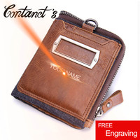 Crazy Hours Leather Wallets Casual Jeans Style Purse Male Clutch Bag With Money Patchwork Design Men
