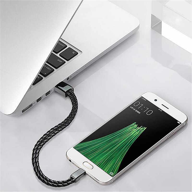Pulsera de cuero USB cargador rápido para iphone 7 8 Cable de datos de teléfono móvil Cable de carga rápida portátil para Samsung S8 Xiaomi