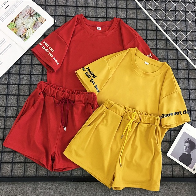 Women 2 Pieces Set Summer Suit Casual Loose Letter Print Tees Top+Drawstring Shorts Red Yellow Set Fashion Women Sets