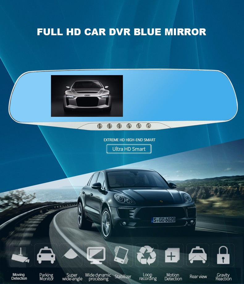 E-ACE Car Dvr Camera Led Lights Blue Rearview Mirror FHD 1080P Night Vision Video Recorder Dual Lens Auto Registrator Dash Cam 4