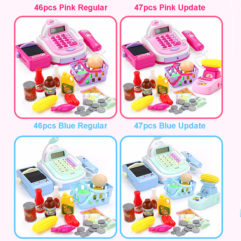46PCS Kids House Toys Simulation Supermarket Checkout Counter Electronic Cash Register Pretend Play Shopping Toys for Children Islamabad