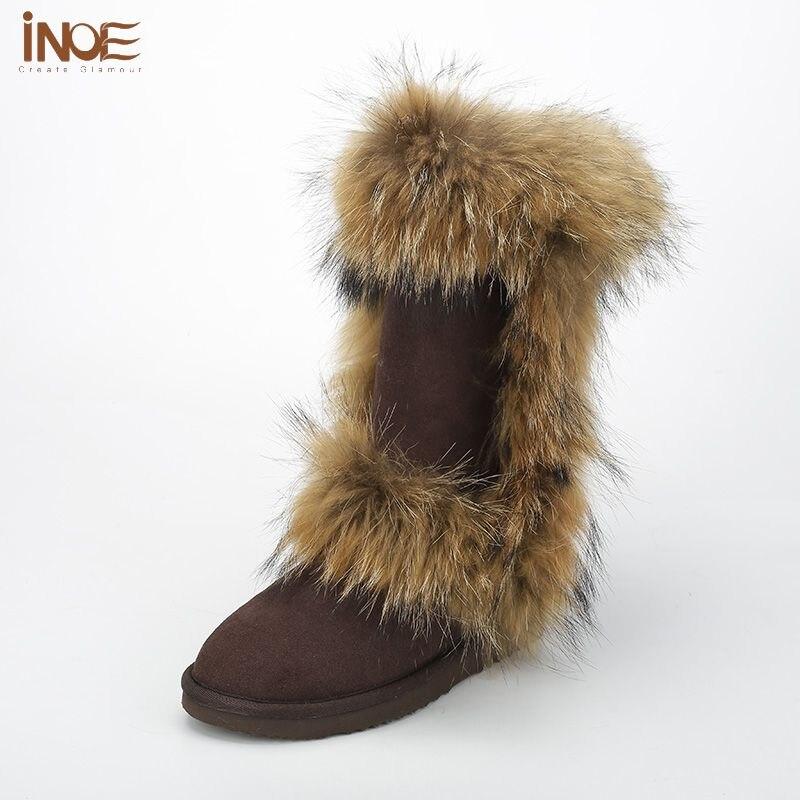 INOE Shearling Lined Leather Boots Women Wool Fleece Waterproof Boots Women  Tall Fox Fur Snow Boots Sheepskin Shoes Knee High 7581107a45