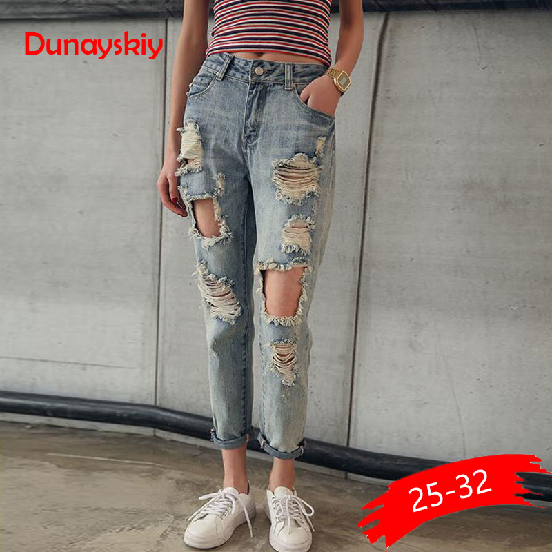 Boyfriend Jeans Destroyed Distressed Pencil-Trousers Ripped Slim Plus-Size Fashion Women