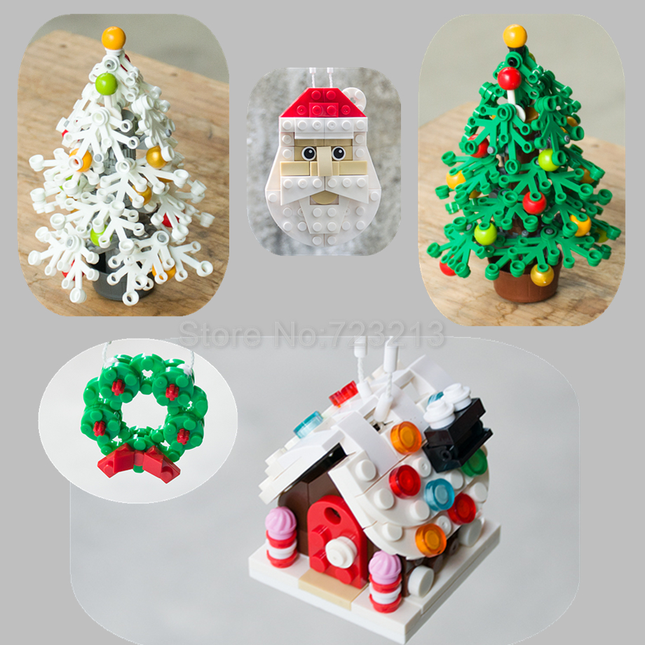 Compatible Legoingly Christmas Tree Blocks Snow House Flower Ring Garland Model Building Blocks Set Kids Gifts Toys For Children
