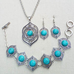 Bohemian Retro Turquoises Necklace Bracelet Earrings 3pcs Fashion Jewelry Sets
