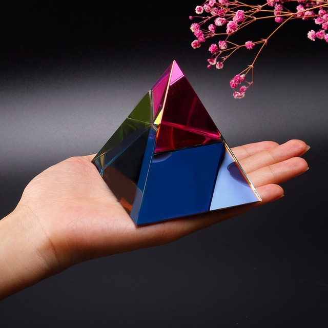 Fashion Energy Healing Small Feng Shui Paperweight 3 5'' Crystal Pyramid  Ornament Home Decor Living Room Decoration(Multi Color)