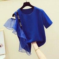 New Korean Style Women T Shirts Letter Mesh Ruffled Off Shoulder Short sleeved T shirt Female Casual Summer 2019 Tops Women
