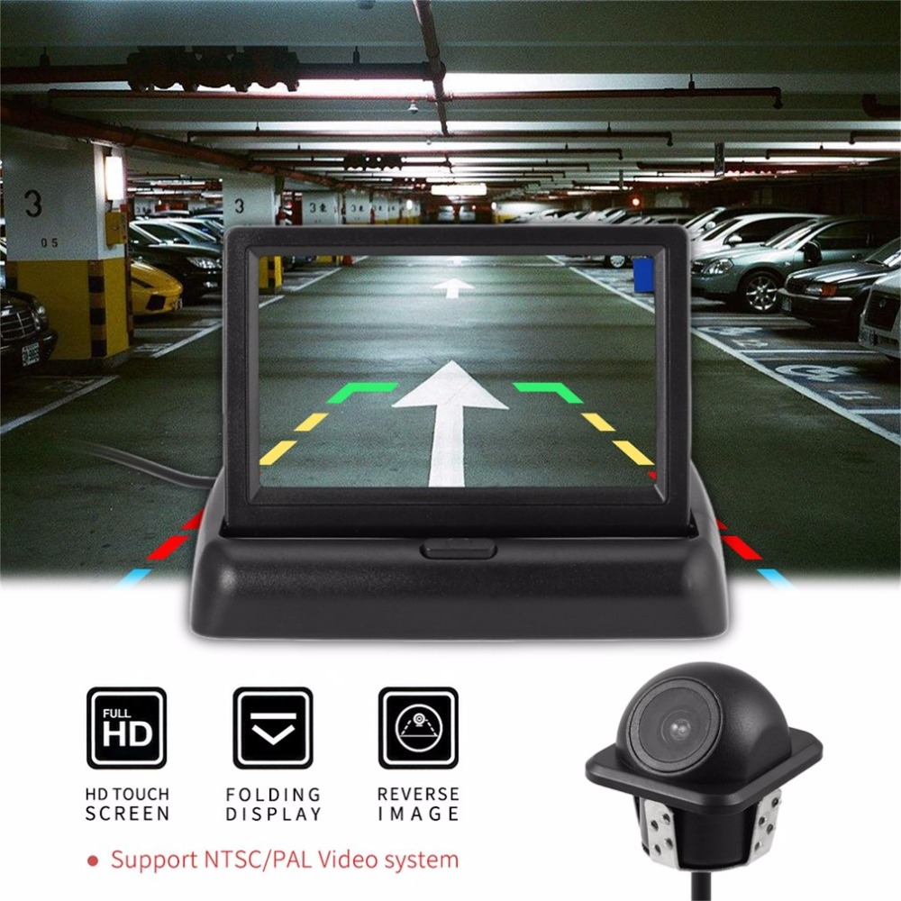 2In1 Car Parking System Kit 4.3Folding Car in-Dash Monitor Rear view Display Monitor + Waterproof Reversing Backup Camera for ford escape maverick mariner car parking sensors rear view back up camera 2 in 1 visual alarm parking system