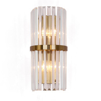 T American Country Style Luxury Crystal Wall Lamp For Living Room Bedside Asile Porch Light With LED Bulbs Length30cm