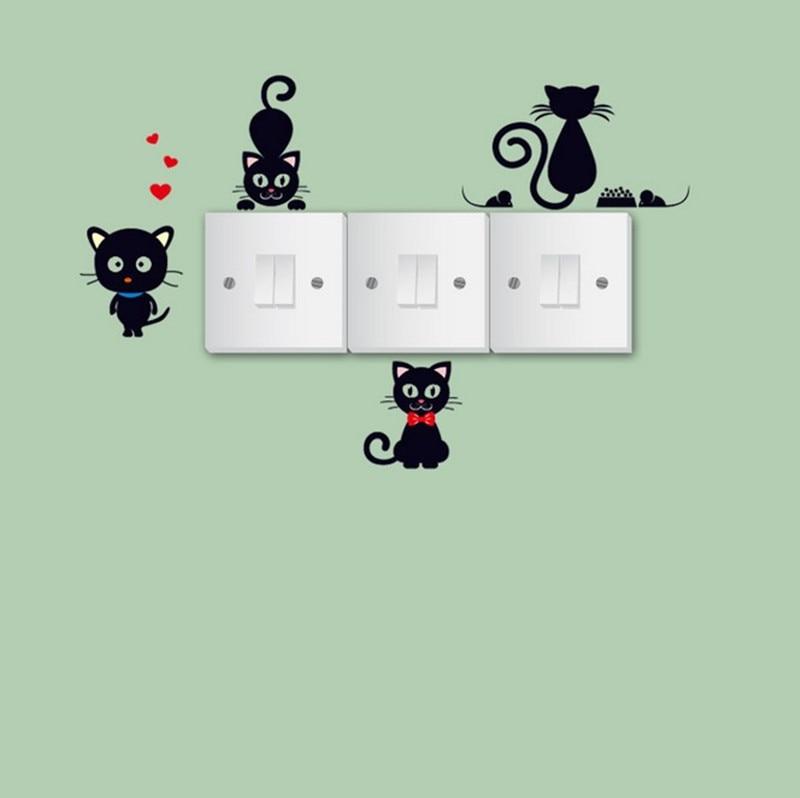 % Diy 3d Lebendige Tier Katzen Schalter Aufkleber Cartoon Schalter Abdeckung Geschützt Wand Vinyl Aufkleber Für Home Decor Poster Wandbild