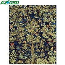 AZQSD Painting By Numbers Flower Tree DIY Modern Oil Painting Paint Canvas Picture Home Decoration Hand Painted Wall Art K172(China)