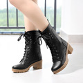 New Fashion Winter Faux pu Lace Up Thick Heel Ankle Boots Women High Heels Boots Casual Booties 2016 Dropship