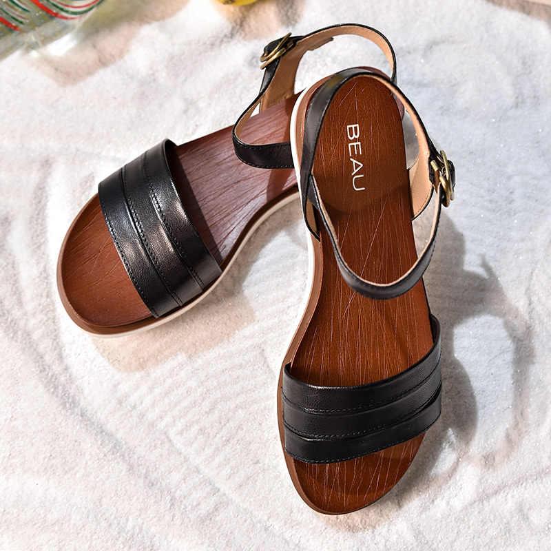 BeauToday Zomer Platte Sandalen Vrouwen Gloednieuwe Schapenvacht Echt Leer Gesp Top Kwaliteit Schoenen Handgemaakte 32110