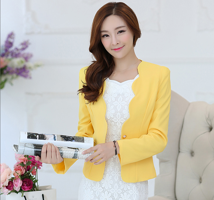 J43433 Women blazers and jackets Pink Casual Business Blazer Suit Women One Button Jacket Coat Outwear Blazer Candy Color