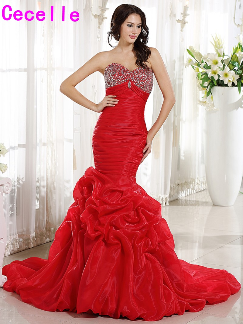 2017 Real Red Mermaid Long Wedding Dresses Sweetheart Pleats Organza Corset Non White Bridal Gowns With Color Non Traditional