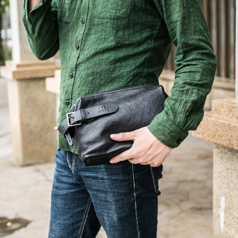 BAQI Men Wallets Handbags Phone-Bag Clutch Sheepskin Designer Genuine-Leather Fashion