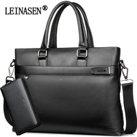 LEINASEN Casual Men Handbags Brand Leather Business Briefcase Crossbody Bags Male Fashion Shoulder Bag Laptop Messenger