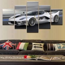 Canvas Wall Art Picture Printed Painting Modern Decor Framework For Living Room 5 Panel FXXK Silver Race Car Poster