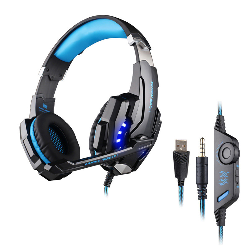 ФОТО KOTION EACH G9000 USB+3.5mm Game Gaming Headphone Headset Earphone Noise Cancelling With Mic LED Light for Phone Laptop Tablet