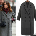 JAPPKBH Autumn Winter Wool Long Coat Jacket Casual Double Breasted Christmas Blazer Outwear Elegant V-neck Women Coat Bayan Mont