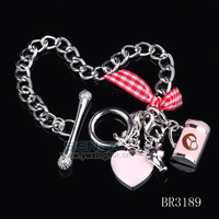 2014 Bracelets For Women German Cookie Charm Bracelet With Pink Ribbon And Silver Heart Oktoberfest Dirndl