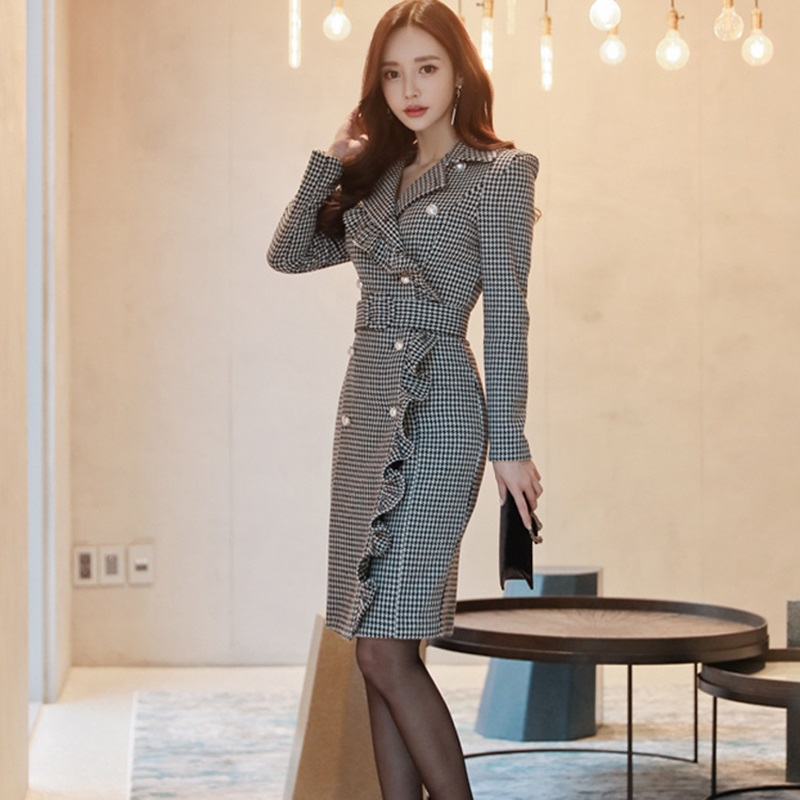 Business dress for women office female ladies elegant Korean fashion style social office dress autumn winter