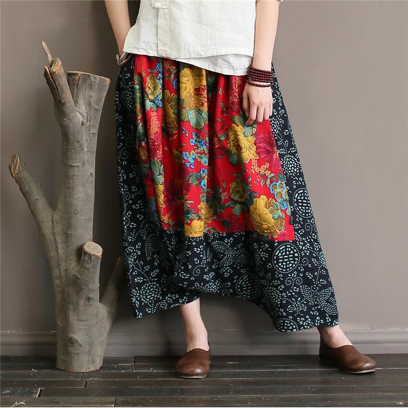 2018 Verano Floral Nuevo Colour Pantalones Mujeres Algodón Patchwork Elástico Cruz Cabeza Mujer Casual Cintura Vintage Wiood wgzHUqTU